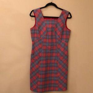 Brooks Brother red blue plaid shift pocket dress 8
